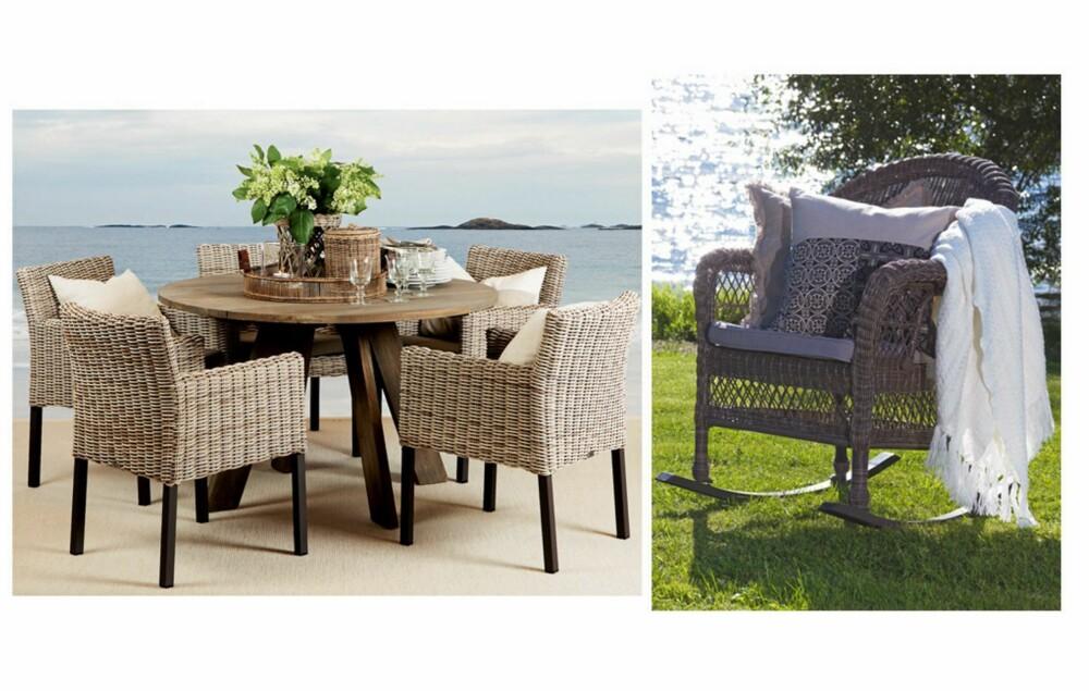 FLETTET KOMFORT: Det er viktig å sitte godt ved bordet, også når vi sitter utendørs. Behagelige kurvstoler er dekorative og praktiske. Utemøblene fra Slettvoll er håndflettet i polyetylen, som tåler både UV-stråling, frost og høy varme. Trekkene kan vaskes ved 40 grader. Fra slettvoll.no og skeidar.no