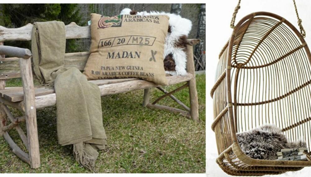En røff benk eller en herlig hengestol er to av møblene du kan innrede uteplassen din med i år. Den rustikke og naturlige stilen er like trendy som før. Benk fra drivved.no, hengestol fra sikadesign.no