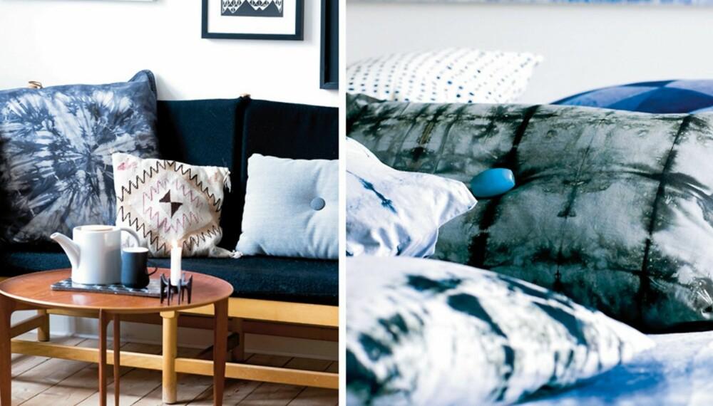 BATIKKTREND: Lag en flott batikkpute til stuen. Den gjør seg godt i selskap med andre typer puter. Her er det brukt ringteknikk. På puten med den blå knappen er det brukt svart batikkfarge på grå tekstil.