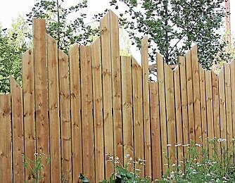 PLANKEVEGG: En litt oppsiktsvekkende plankevegg som skal illudere en profil av naturlig vegetasjon. Med noen år på seg, vil veggen bli grå og kanskje skli enda mer inn i naturen. Men bordene vil nok vri seg litt etter hvert og skape mer «uorden».
