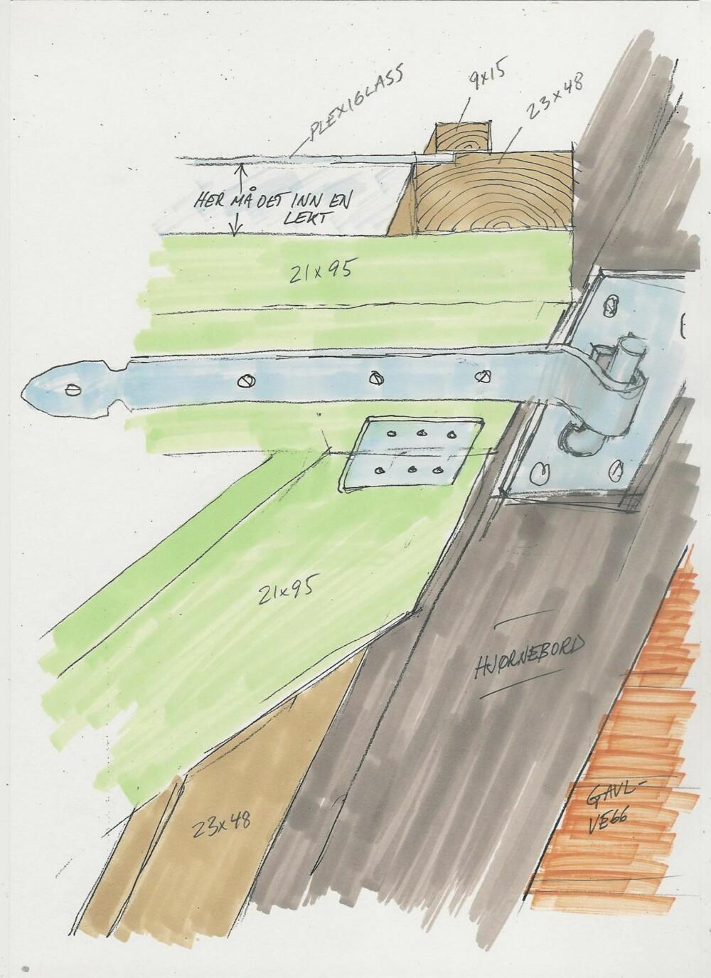 FLYTTBAR LEVEGG: Fleksiveggen kan lages på mange måter, men den bør være så lett som mulig, ettersom den skal være flyttbar. Her er tips til dimensjoner. Foto: Tegning: Per Chr. Tellefsen