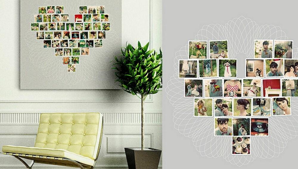 HJERTECOLLAGE: Vil du gjøre noe spesielt med bryllupsfotografiene dine kan du hente inspirasjon hos Designaglow.com.