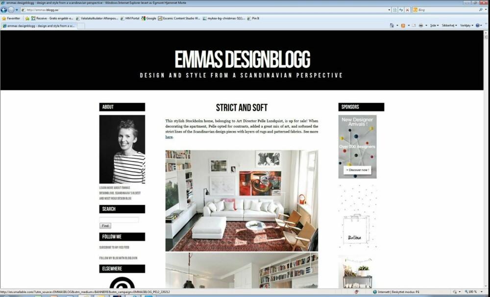 DREVEN I GAMET: Emmas Designblogg er en av de første designbloggene som dukket opp i Skandinavia.