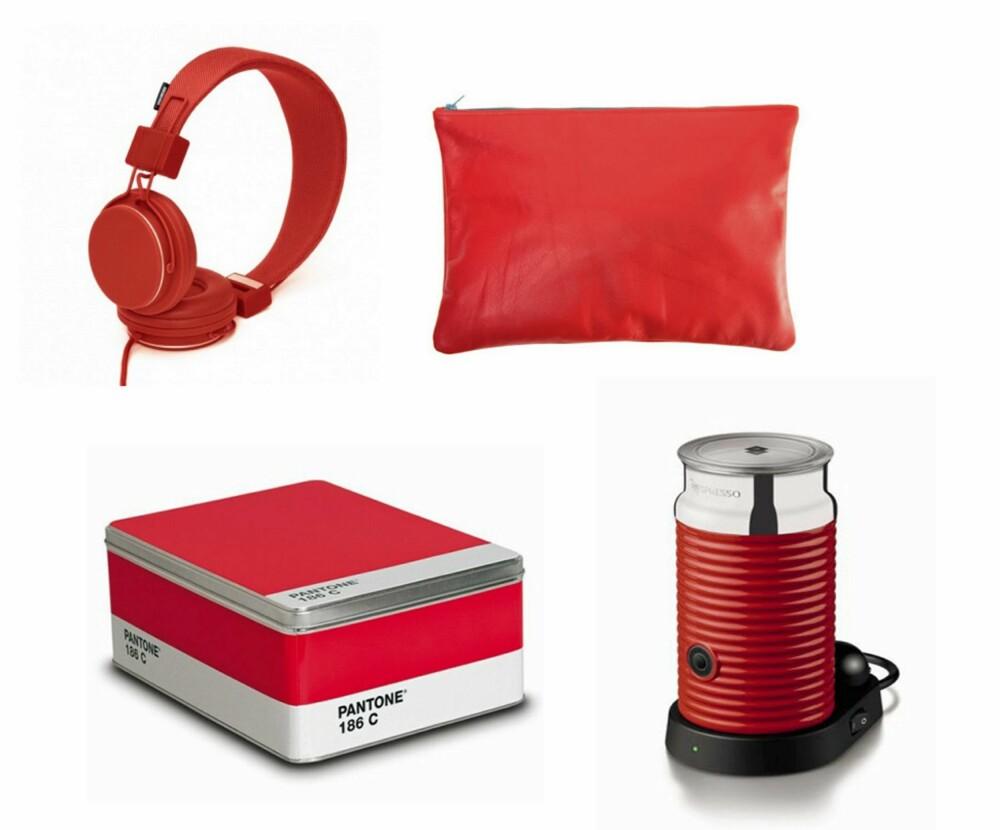 TILBEHØR: Hodetelefoner fra Urbanears, stor, enkel veske fra American Apparel, oppbevaringsboks fra  Pantone og aeroccino fra Nespresso.