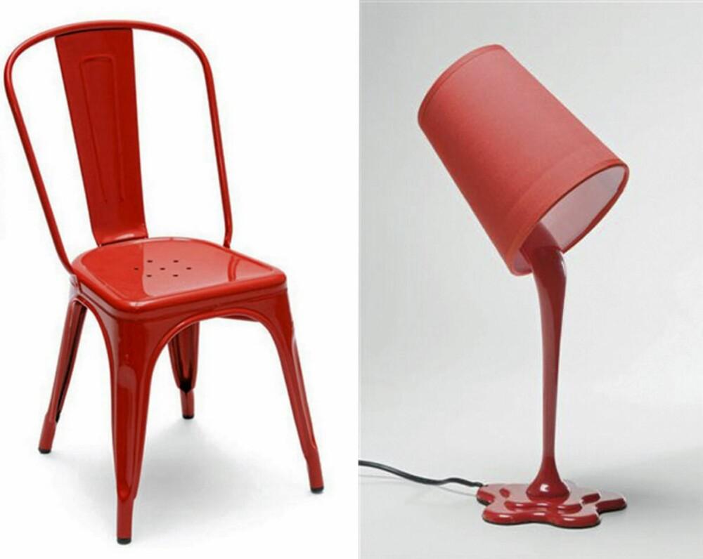 PÅ KONTORET: Stol fra Tolix og lampe fra Kare Design.