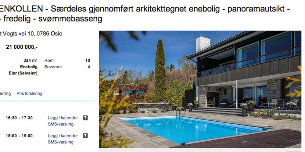 PÅ TOPPEN: Bo gdt på Holmenkollen med eget svømmebasseng og bibliotek.