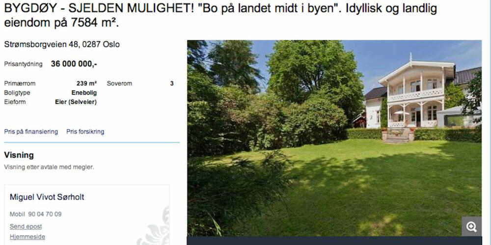 BO GODT PÅ BYGDØY: Har du 36 millioner å bruke på eiendom, kan du bo godt i denne ærverdige villaen på Bygdøy.