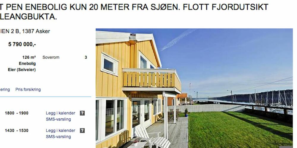 NÆRME SJØEN: Her i Asker kan du bo i maritime omgivelser, kun 20 meter fra sjøen.