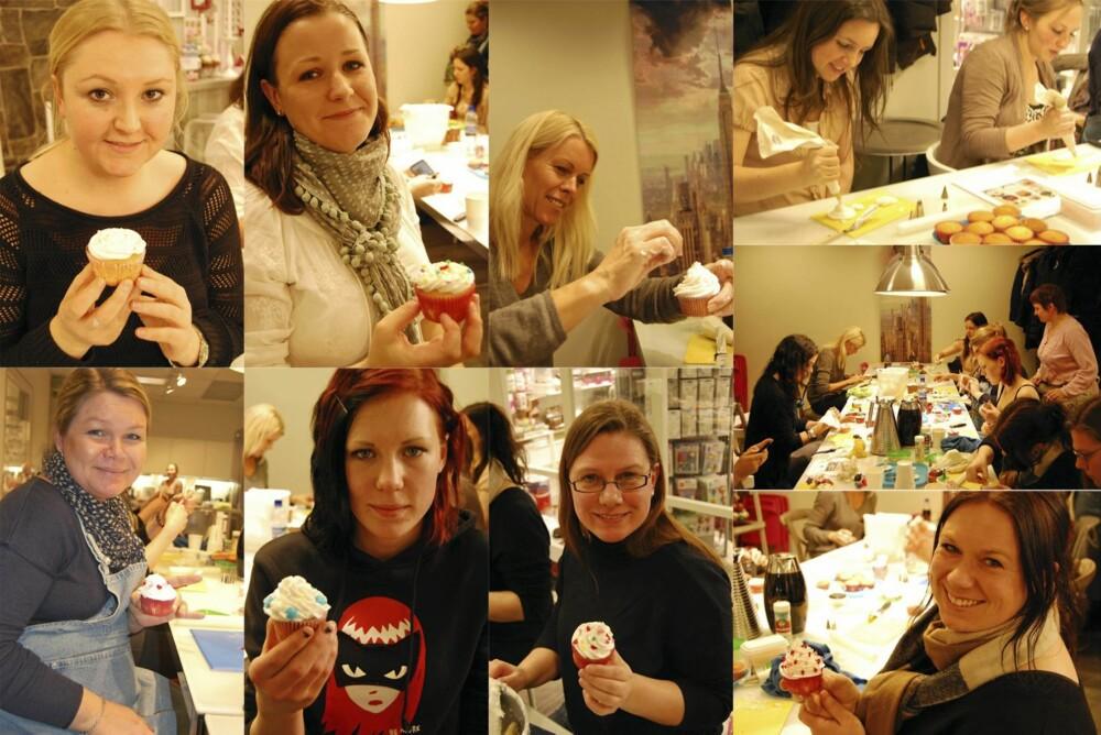 FLINKE FOLK: Alle deltagerne var utrolig flinke og lagde imponerende mye fint. Her var det virkelig mye skaperevne og pynteglede. Øverst fra venstre: Camilla, Sunniva, Celine, Fredrikke, Ann Charlotte, Trine, Pernille, Rakel og Britt.