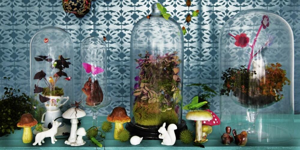 LEVENDE STILLEBEN: Figurene er vintage-funn fra It's about Romi. Soppene er fra Hay. Sommerfuglene fra Panduro Hobby, og insektene fra Okholm. Styling: Nicoline Olssen.