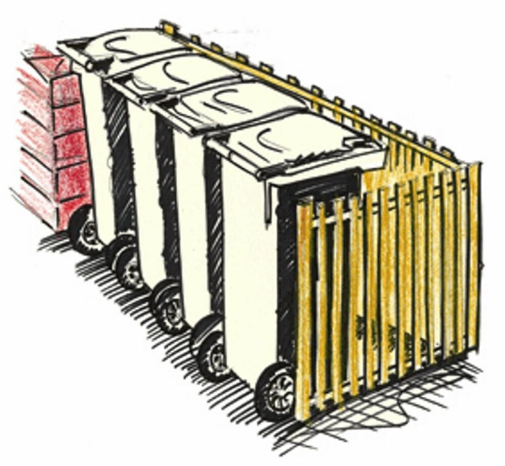 STAKITT: En litt mer avansert og litt penere byggemetode for skjerming av søppelbøttene.