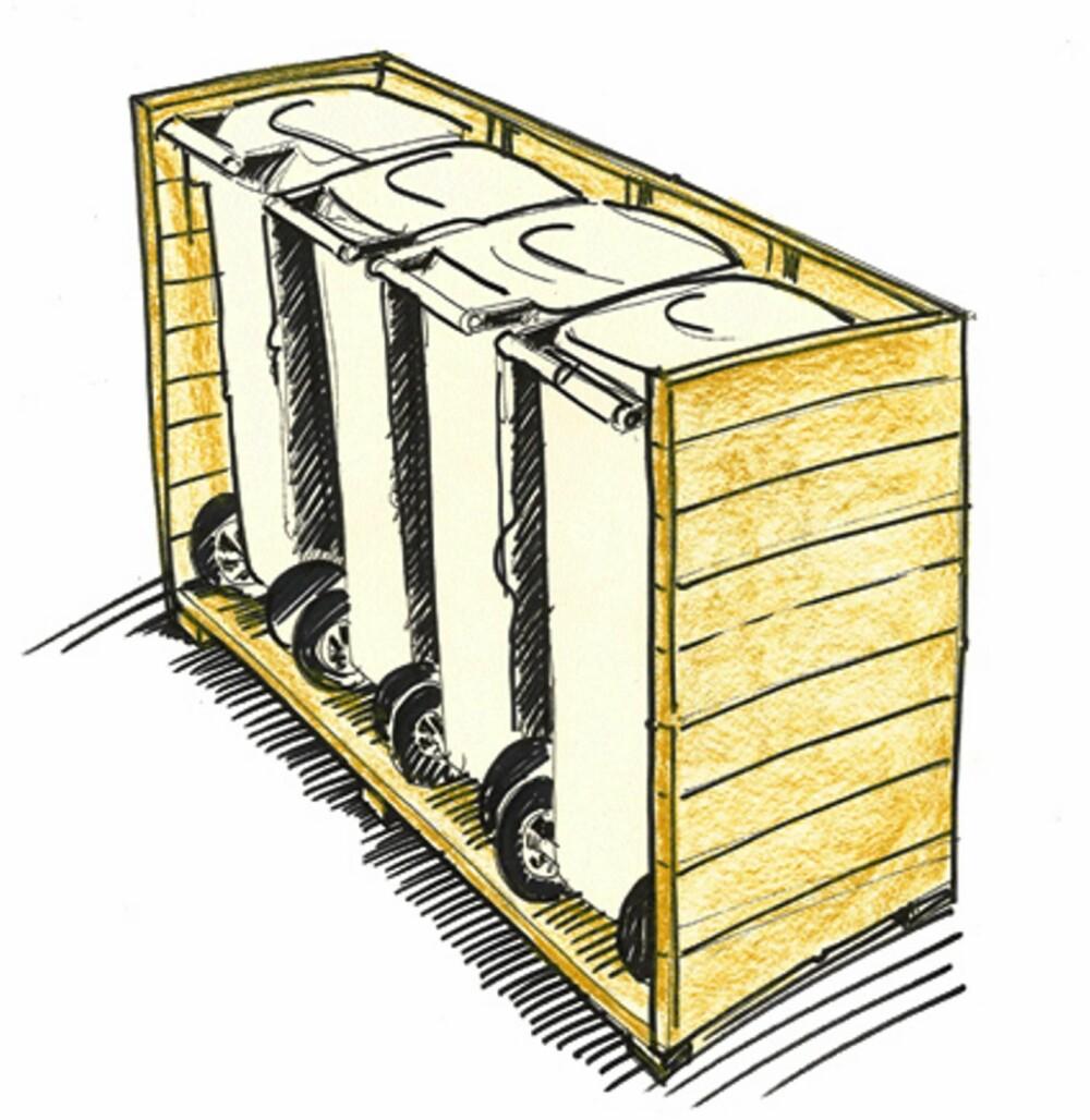 PLANK: En enkel måte å skjerme søppeldunkene på, er å bygge et gjerde rundt av enkel, impregnert plank.
