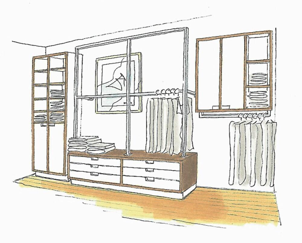 SKISSE. Her vises garderobeløsningen i sin helhet. Tegning av interiørarkitekt MNIL Bernt A. Pedersen.