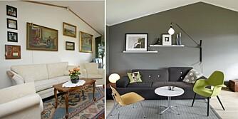 FØR OG ETTER: Beboerne har møblert i en mer moderne stil og malt veggene grå.