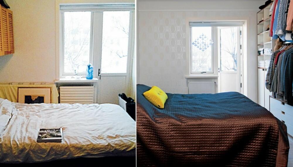 FØR/ETTER. Den smale soverommet hadde ikke plass til en standard garderobeløsning og fikk dermed en spesialbygget løsning. Strietapetet ble byttet ut med strukturtapet.