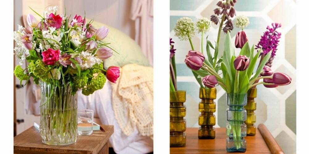 LEKRE BUKETTER: Tulipaner kan fint plasseres i en vase sammen med andre blomster som vist i bildet til venstre, men det beste er å sette de sammen med andre løkblomster. Da vil alle blomstene holde cirka like lenge.