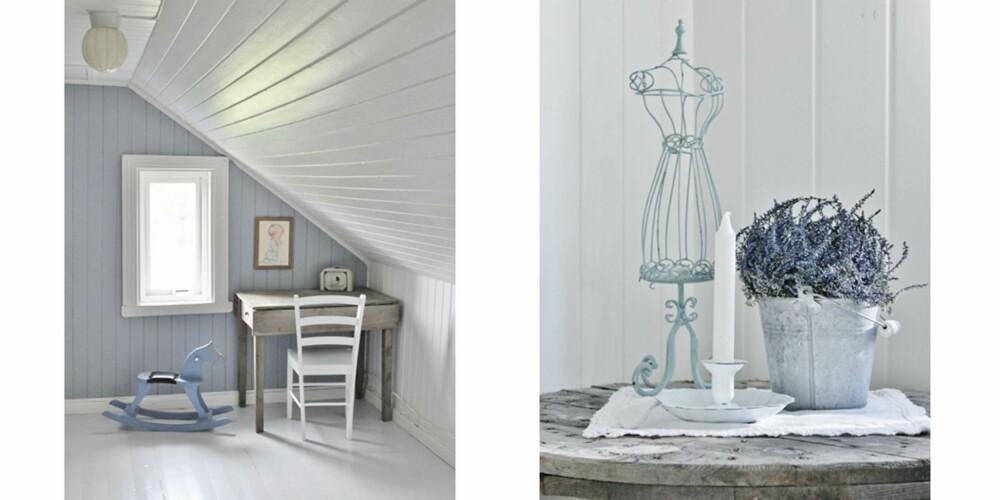 BABYBLÅ: Stilen i Marias hjem er gjennomgående hvitt, pasteller og rå naturmaterialer.