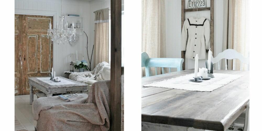 SJARMERENDE: Maria kombinerer tekstiler i duse farger og grove treflaterog skaper derfor avslappende rom med sjarm. I bildet til venstre ser du de gamle dørene som fungerer som tv-skap.