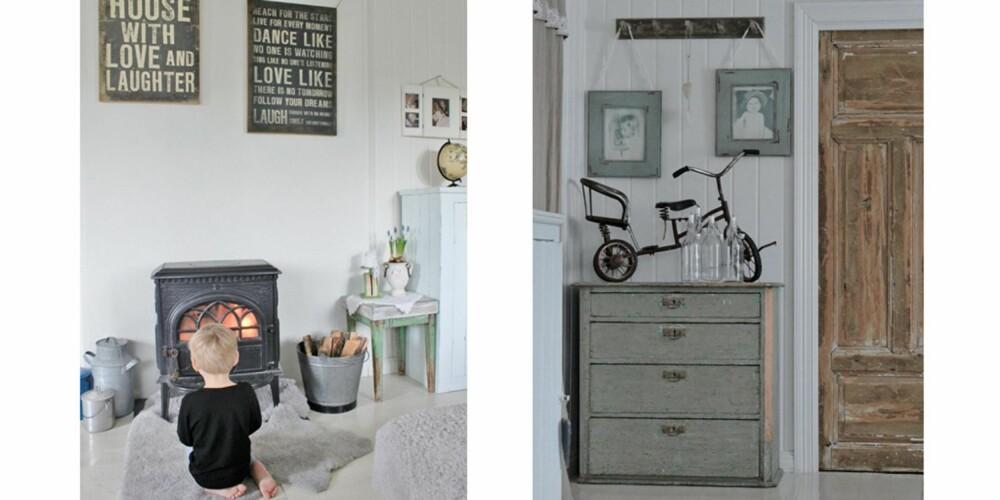 POSITIVT MILJØ: Huset er preget av gamle tremøbler og kanskje noe uvanlig pynt, som sykkelen på kommoden. Over vedovnen henger to bilder med søte mottoer å leve etter.
