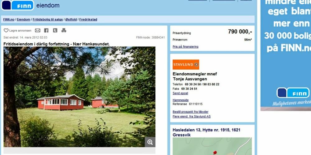 LILLE RØDE: Denne hytta ved Hankøsundet er den nest mest sette annonsen hittil i år og har en prisantydning på 790.000 kroner. Den kan fremdeles bli din.
