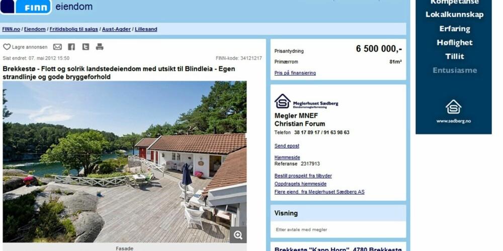 BLINDLEIA: På 9. plass ligger denne hytta med utsikt til Blindleia fortsatt ute til salgs. Prisantydning 6,5 millioner kroner.