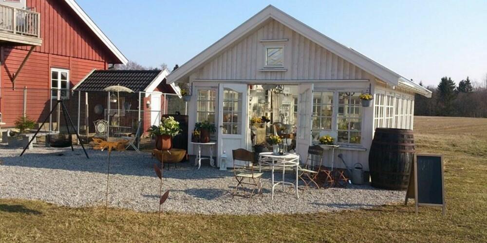 GÅRDSBUTIKKER: Loftet selger blant annet skinnfeller, sauekjøtt og garn fra en barnevennlig sauegård på Eidsvoll.
