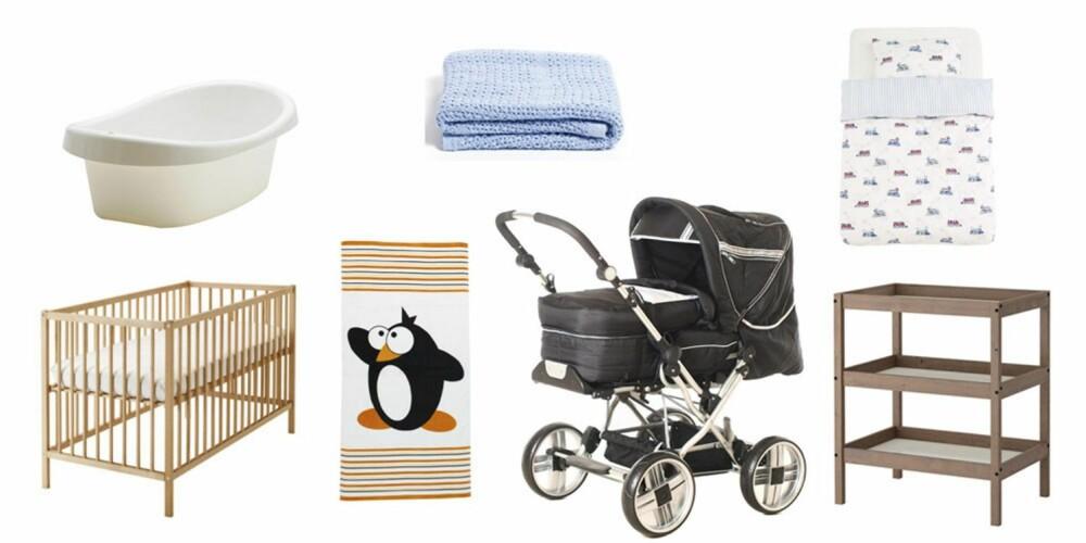 BUDSJETT: 4142 kroner: vogn, 2795 kr (Jollyroom.no), seng, 345 kr (IKEA), stellebord, 545 kr (IKEA), sengetøy, 129 kr (Princess), badedlje, 79 kr (IKEA), håndkle, 100 kr (Jysk), babyteppe, 99 kr (Princess).