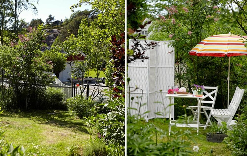 UTEPLASS: Tenk gjennom hva slags hage du ønsker og planlegg ut fra forholdene. Det er viktig at hagen passer til terrenget du har tilgjengelig. Her har et område i hagen passet godt til å skape en liten uteplass.