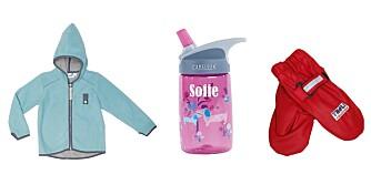 RIKTIG UTSTYR: Det er mye som skal kjøpes inn til barnehagestart. Fra venstre: Fleecejakke fra Mini a ture, kr 459. Drikkeflaske med navn fra Camelbak, kr 199. Regnvotter fra Troll, kr 229.