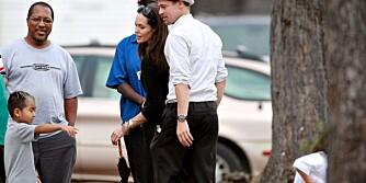 BARE TO, Angelina Jolie and Brad Pitt hadde bare med seg to av de seks barna på dette bildet. Pax, 4, and Maddox, 7,