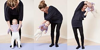 LASSOEN: Dette er en morsom øvelse hvor du svinger babyen over hodet.
