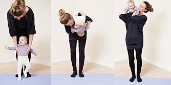 STUPE KRÅKE: Babyen stuper kråke til mammas skulder.