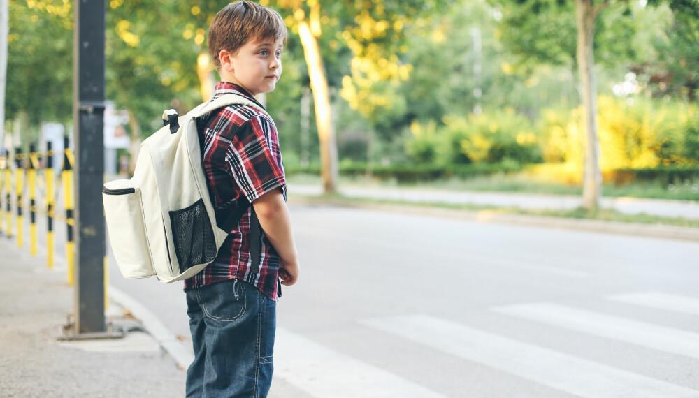 Det er foreldrene som vet når barna er modne nok for å gå alene til skolen. Men skoleveien må også tas i betraktning - skoleveien kan innebære alt fra sterk trafikk til landlige omgivelser, lyskryss til skogsstier.