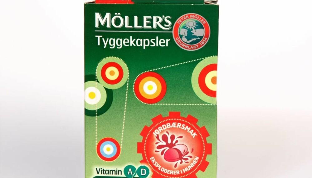 MÖLLER'S TYGGEKAPSLER: Omega-3-tilskudd med bærsmak.