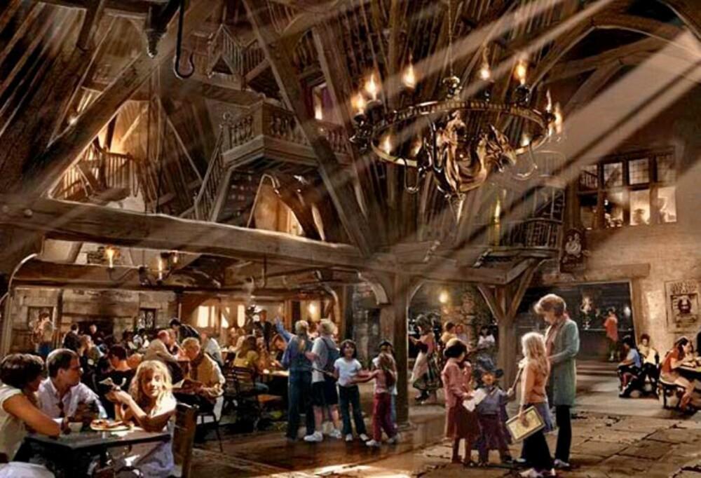 HARRY POTTERLAND: Slik ser produsenten for seg et  av spisestedene i Harry Potterland.