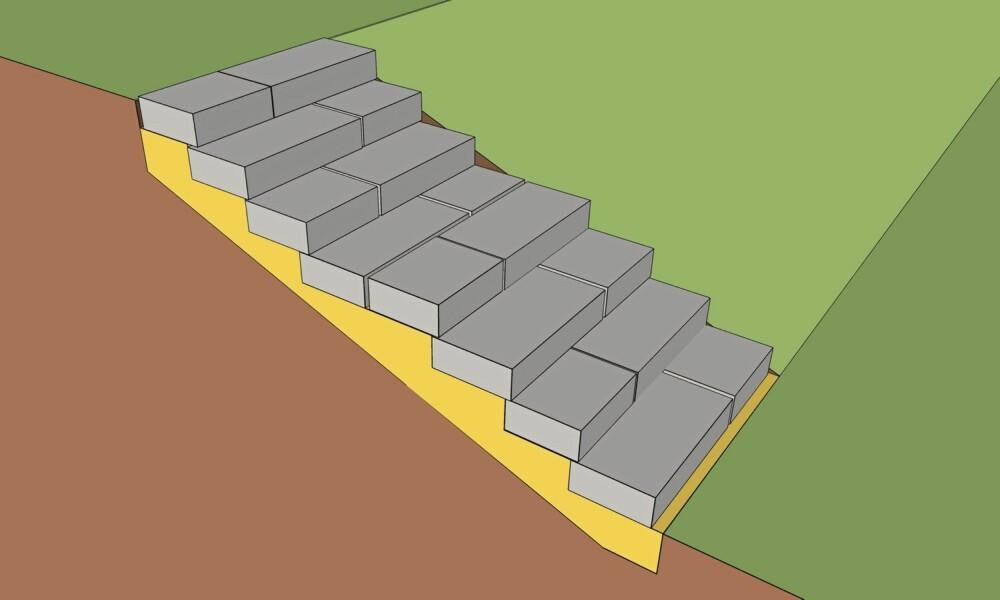 UTETRAPP I STEIN: Slik ser hele trappen ut når den er ferdig.