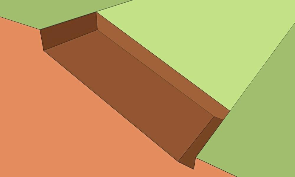 GRAV UT: Grav ut under det området du skal sette steinen. Du må grave deg ned minimum 20 centimeter eller til fast grunn.