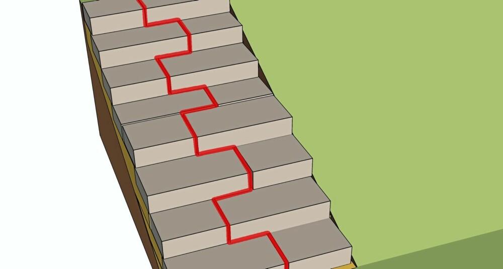 FUGER: Må du bruke flere stein på hvert trinn må du passe på at fugene ikke blir liggende etter hverandre nedover trappen. Bytt på med korte og lange steiner. Da unngår du at massene blir vasket ut.