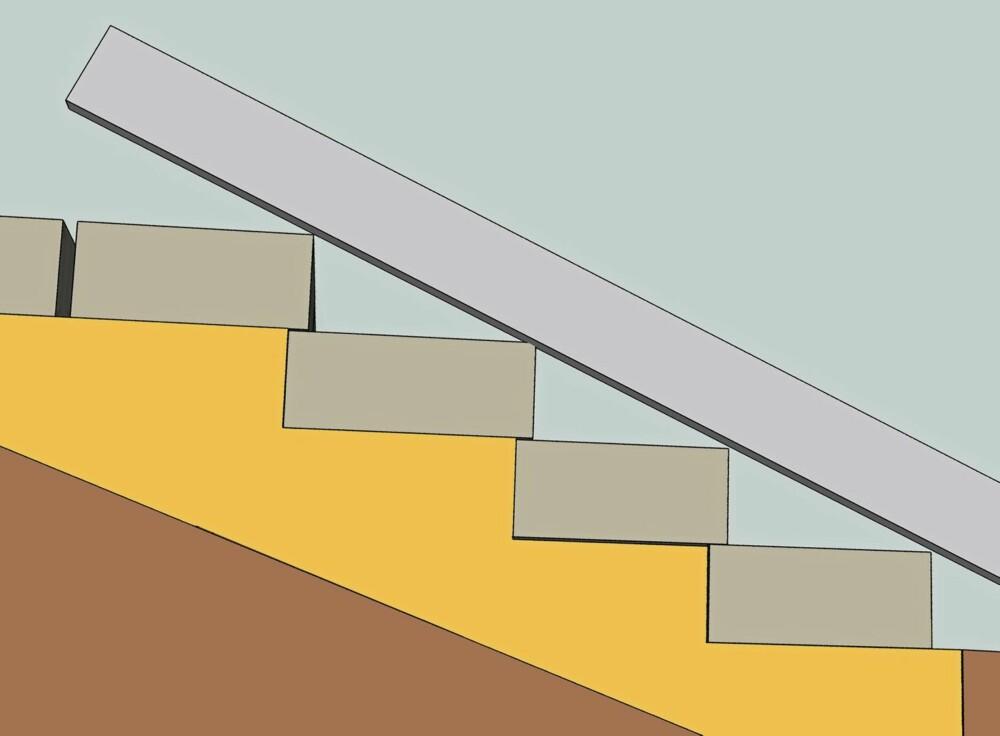 PÅ LINJE: Bruk rettholt og kontroller at trappenesene er på linje.