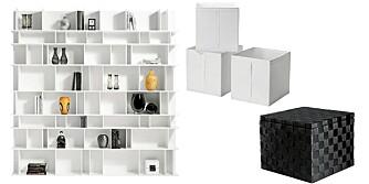 SMARTE STUENMØBLER: Hvit, høyglanset hylle, kr 19 980, BoConcept. Hvite bokser, kr 119 for 3 stk., Ikea, og svart flettepuff med lokk og god lagringsplass, kr 299, Åhléns.
