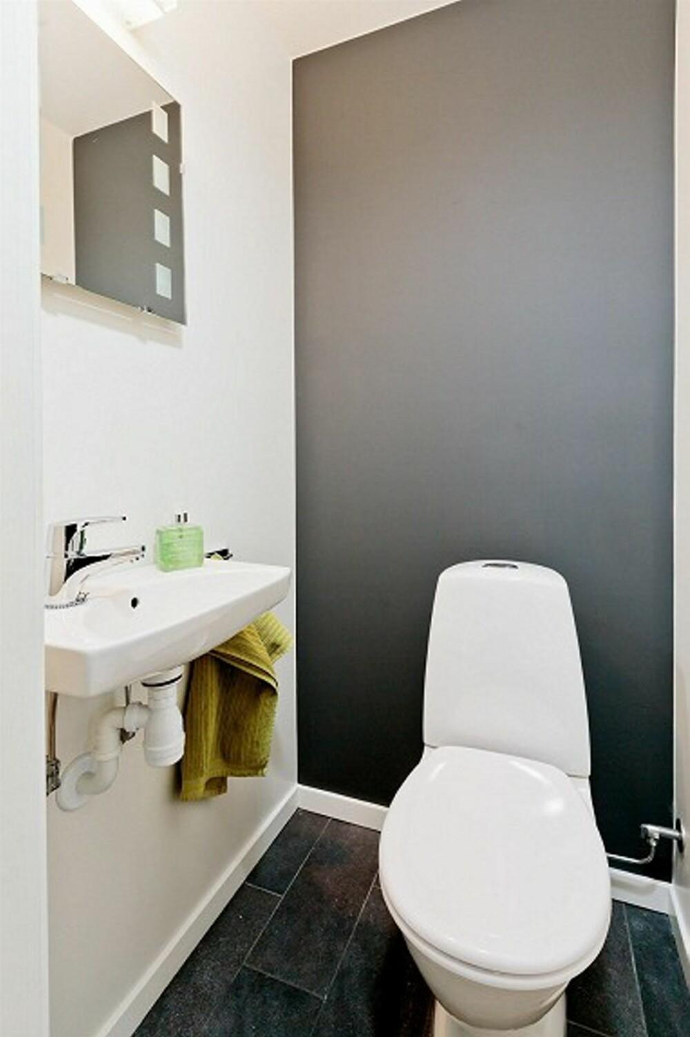 MØRK GRÅ: Den ene veggen på toalettet ble malt i en tydelig kontrastfarge i boligen som gikk godt over takst.