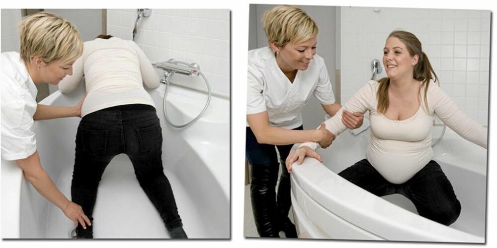 FÆRRE RIFTER: Mange erfarer at det blir færre rifter i vann. Alternativer til å sitte/ligge i badekaret er å stå på knærne eller på huk.
