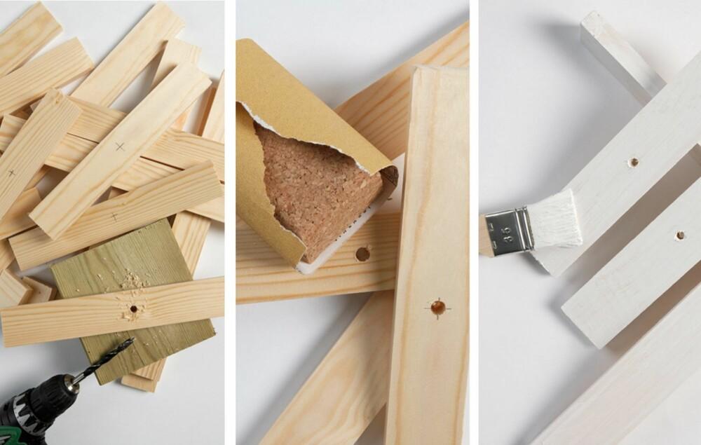 1. Bor et hull i midten av hver bit. 2. Puss over endene med sandpapir. 3. Mal bitene hvite, eller behold dem i sin naturlige trefarge -det er også fint.