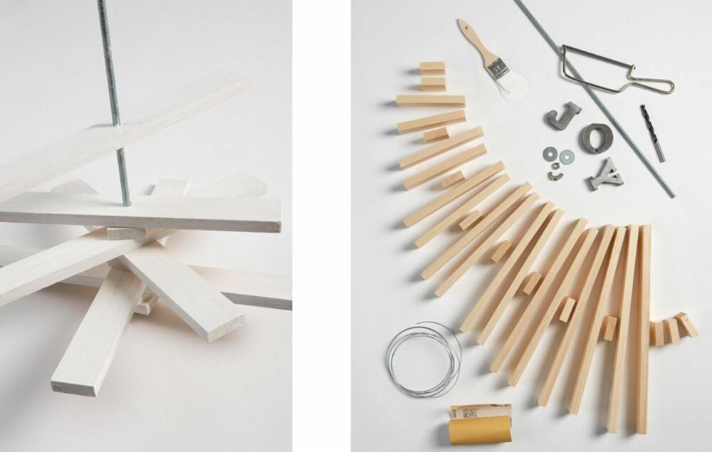 4. Træ på trebitene. Sett en skive og en mutter nederst, og en skive og en vingeskrue øverst. Heng opp treet med en ståltråd.5. Dette er alt du trenger! Det koster rundt en hundrelapp når du kjøper det selv.