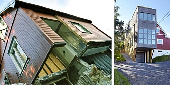 HENGENDE. Huset ble hengende i luften under en del av byggeperioden. Til høyre er huset med ferdig tilbygg.