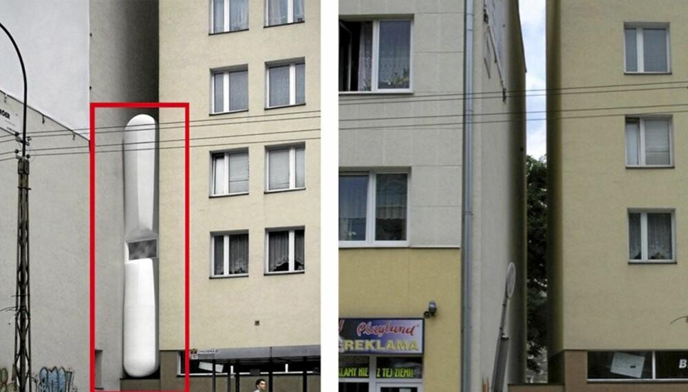 INNEKLEMT: Keret House skal skvises på plass mellom to andre bygninger.