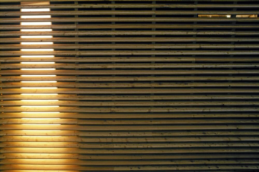 BAKVEGG I SÆRKLSSSE: Bakveggen mot veien har spilepanel - og hele veggen heller utover. Dette er både stilig og beskytter treverket.