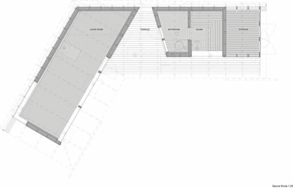 Grunnplan Sauna Sirola. V-formen åpner seg mot sjøen.
