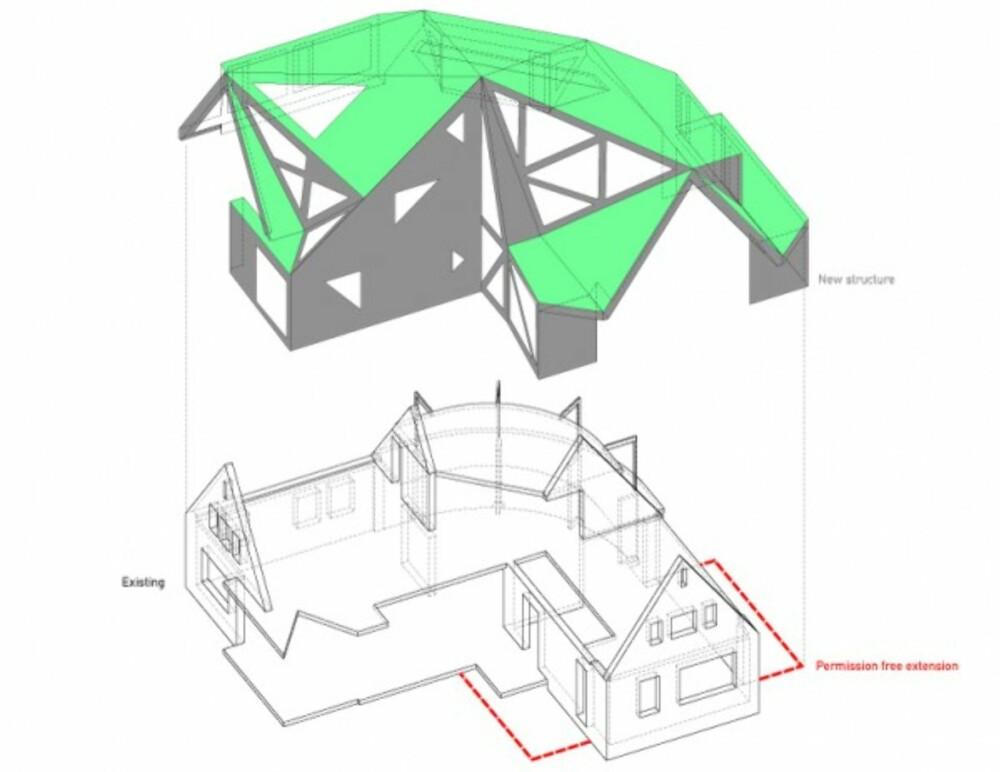 """TREDDE OVER: Slik """"""""tredte"""""""" arkitektene """"""""lokket"""""""" på huset."""