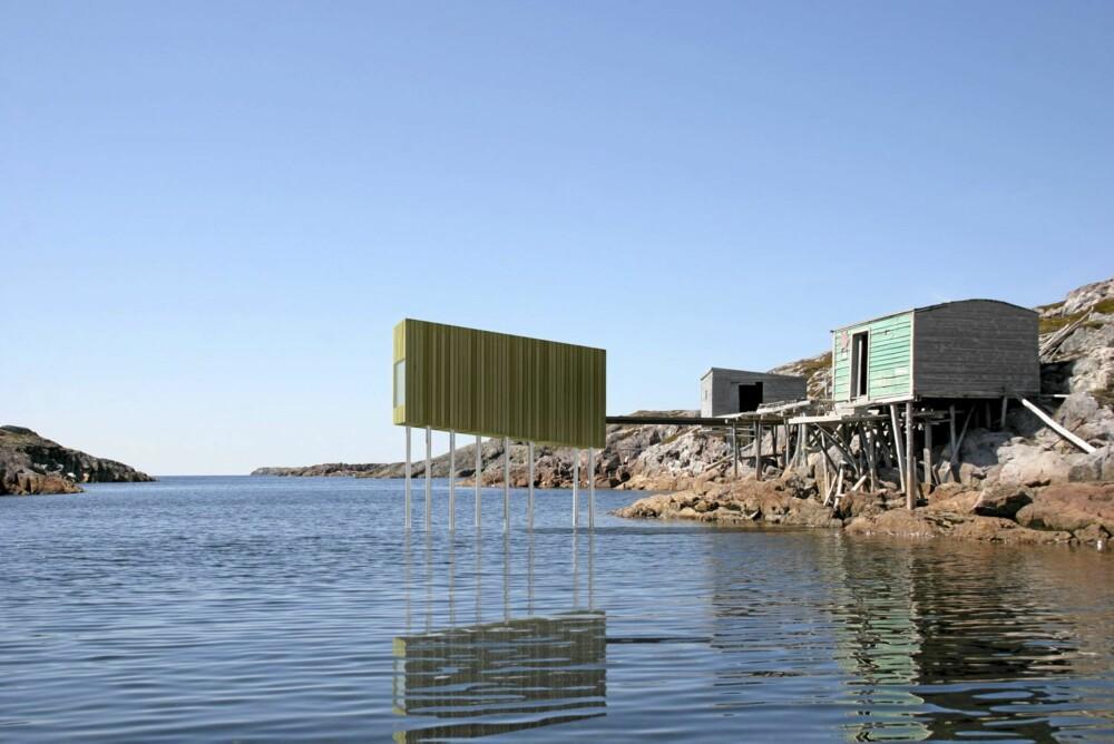 """AMFIBIEHUS:  Arkitektens illustrasjon viser hvordan Studio """"Bridge"""" står med beina i vannet, slik som mange av de gamle fiskerhusene ute på Fogo Island."""